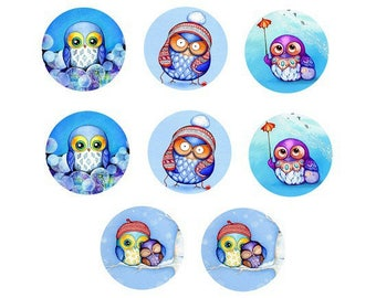 12mm, 8 different cabochons, OWL theme