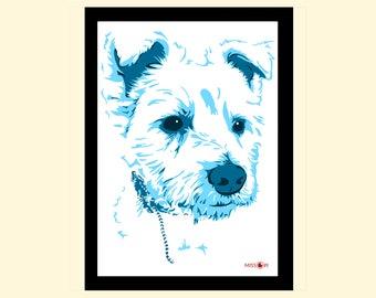 Birthday gift, pet portrait, custom digital print, animal art, pug art, dog, terrier, dog art print, artwork, digital art, bespoke gift