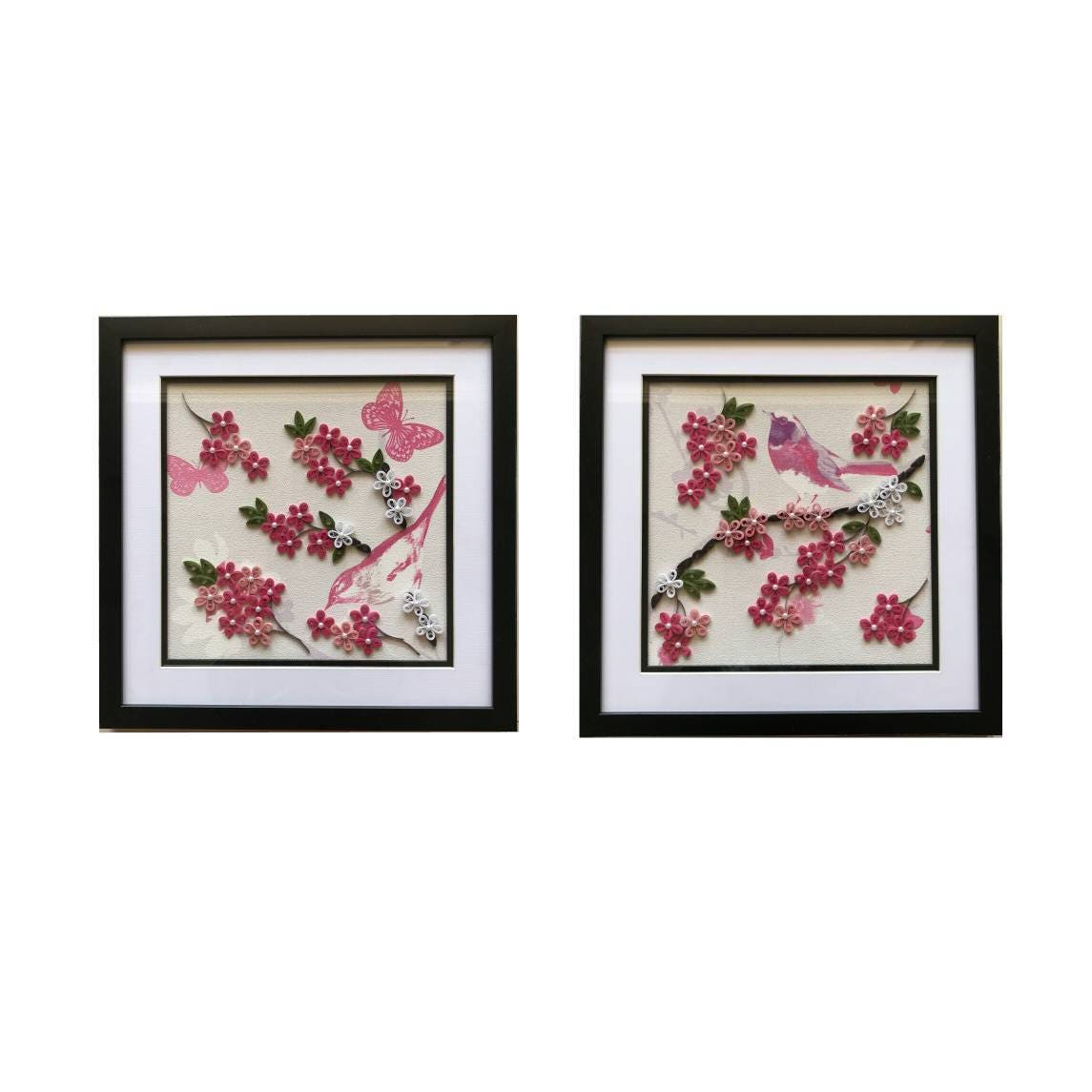 Set Of 2 Frames Pink Flower Quilling On Wall Paperquillingquilling