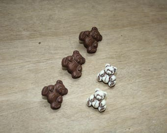 Novelty Teddy bear Brown and beige acrylic buttons