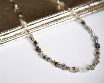 Herkimer Diamond. Gold filled details. 18 inch (0184)