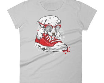 puppy with sneakers Women's short sleeve t-shirt