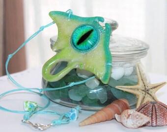 Stingray pendant / necklace /glasses eye / Handmade / Polymer clay