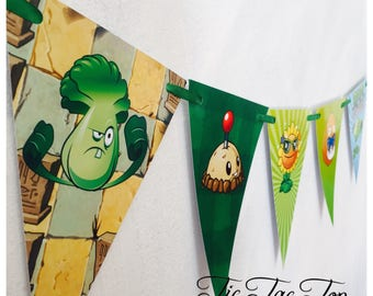 Plants Vs Zombies Birthday Bunting Banner Flags. Supplies Lolly Loot Bag Cake Invitation Room Decoration Toppers Stickers Tableware