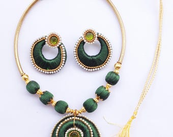 Gunu Premium Handmade silk jewelry Necklace Earring Set