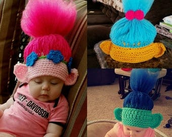 Troll hat, princess poppy and friends
