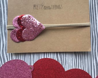 Large Glitter Heart Nylon Headband - Pink or Red