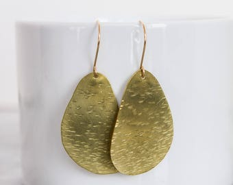 Abstract Lake Tahoe Brass Earrings with Gold-filled Ear Wires