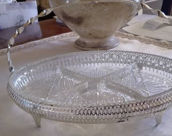 Tray for appetizers, glass plate and silver metal/chrome plated, excellent