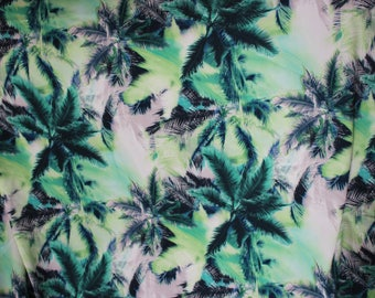 45 cm X 50 cm Green Palm trees on white fabric coupon