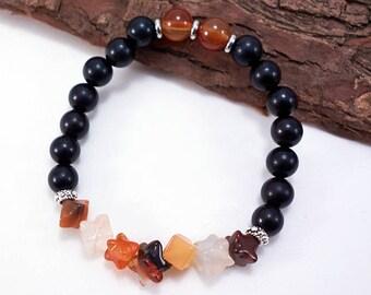 Ebony Wood Mala Bracelet with Natural Carnelian Gemstones and Stars