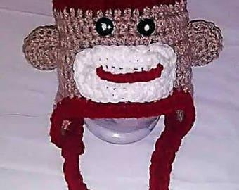 Sock Monkey Crocheted Hat