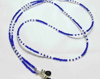 Sapphire Blue Clear Crystal Beaded Eyeglass Chain