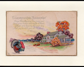 Cheer and Bounty Thanksgiving Vintage Greeting Card