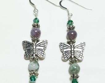 Pink Green Fancy Jasper Butterfly Beaded Earrings