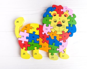 Educational Wood Toy Lion Learning Puzzle Kids Numbers Alphabet Puzzle Wooden Puzzles For Children Educational Wood Toy