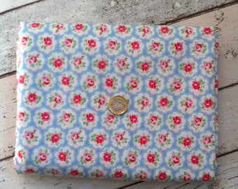 Cath Kidston Provence Rose Blue Cotton lightweight fabric for lampshades, pillows, cushions, coasters, curtains