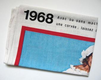 French vintage 1968 calendar Tea towel