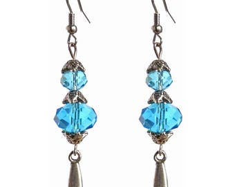 drop Silver earrings Crystal faceted light blue