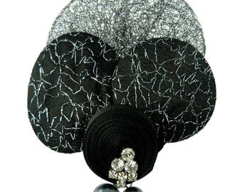 fabric brooch black and silver Crystal White Pearl Grey