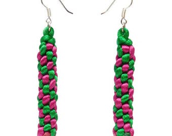 Drop earring style yummies scoubidou pink green