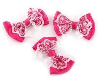 5 fabric 55mm fuchsia pink lace bow white bow