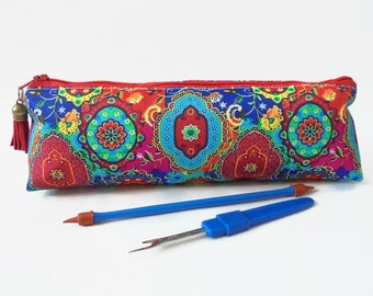 Art gifts, Colourful Indian print,  pencil pouch, brush bag, art gift, student gift, teacher gift, pen pouch.