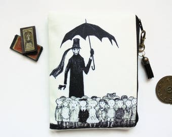 Mum gifts, zipper Bag, edward gorey, dark victorian, gothic, sewing pouch, zipper wallet.