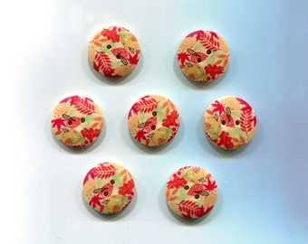 7 buttons round 2cm * flowers & leaves * wood