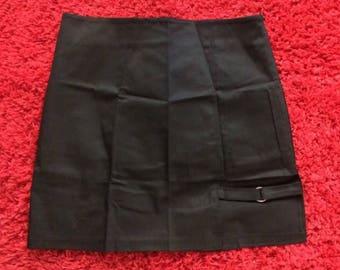 Black High Waisted Asymmetrical Skirt W/ Cut Out O-Ring / S-M