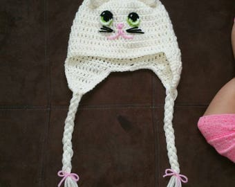 Handmade Toddler Kitten Hat with Earflaps and Braids