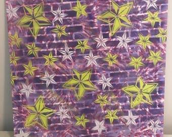 """Graffiti Brick Wall Stars Lime Green Purple White Pink 24"""" x 24"""""""
