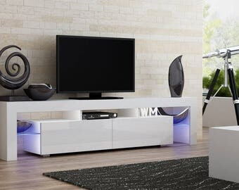 Helios 200 modern tv stand for living room / tv entertainment center with LED lighting system / Color white and white