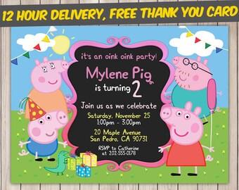 Peppa Pig Invitation, Peppa Pig Birthday, Peppa Pig Birthday Invitation, Peppa Pig Party, Peppa Pig Invite, Peppa Pig Printable