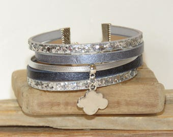 "Cuff Bracelet ""cloud"" leather with glitter, color gray, gray blue and silver"