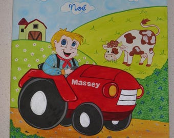 "original acrylic painting ""little farmer and his cow"""