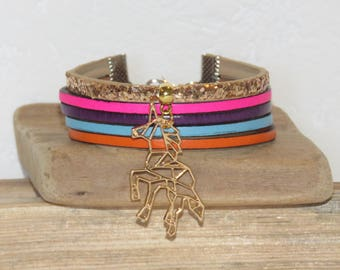 Cuff Bracelet, MULTISTRAND, for teen, gold, pink neon purple, blue, orange, leather, sequins, origami Unicorn charm.