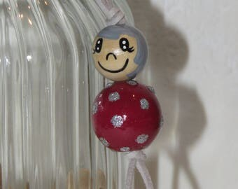 """Keychain doll with wooden beads, bag charm, """"logs smiles"""" fully customizable, and hand painted Burgundy colors"""