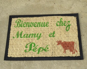 "Doormat personalized ""Welcome to Grandma and Grandpa"" patterns and colors to choose from, little cow"