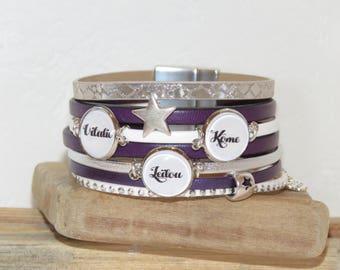 Bracelet with names, personalized bracelets, women bracelet, cuff bracelet, purple, white bracelet, leather bracelet
