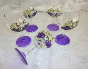 "Set of 6 glass ball ""grapes"" hand painted"