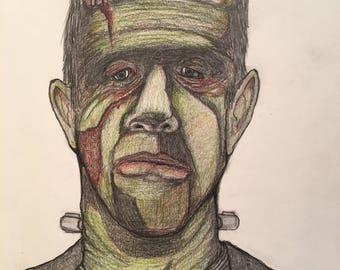 11x14 Original Pop Art Illustration Frankenstein