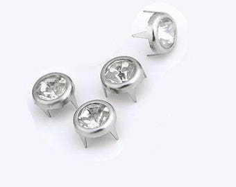 Silver rivets with Rhinestones, round, 7 mm - 10
