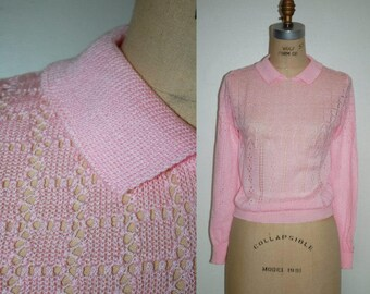 80s Collared Pointelle Sweater (Small/Extra Small)