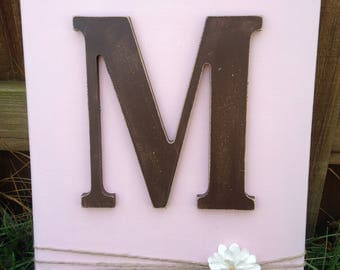"12""x16"" Custom monogram canvas / Custom gifts / Wall decor / Gift / Bedroom decor / Wall art"