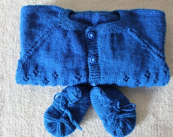 Knitted Baby Sweater Hat Booties Set / Blue  Sweater/ Kid Sweater/Best Christmas gift