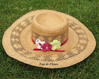 Straw Hat Sunburst decoration Pink Ribbon and matching fabric flowers