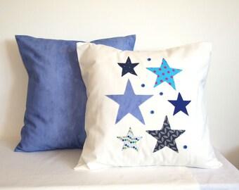 Housse de coussin, taie d'oreiller, étoiles, bleu, blanc