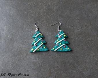 Polymer clay Christmas tree earring