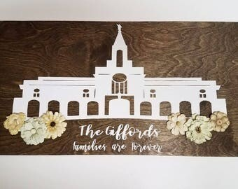 Utah Temple Sign, Bountiful Temple Sign, LDS Temple Sign, Families are Forever Sign, LDS Signs, Bountiful Temple Sign, Custom Wood Signs